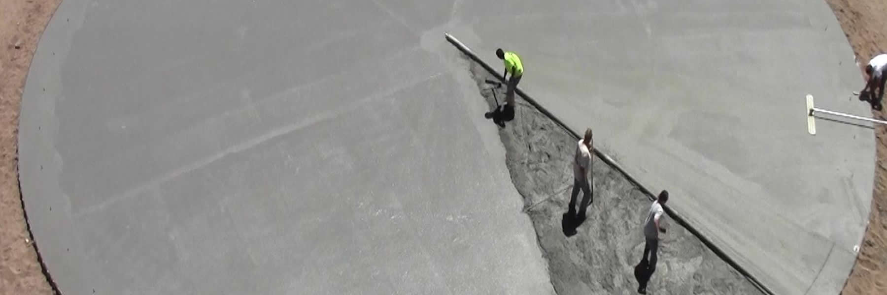 Use the Lura Screed system to pour concrete in large circles.